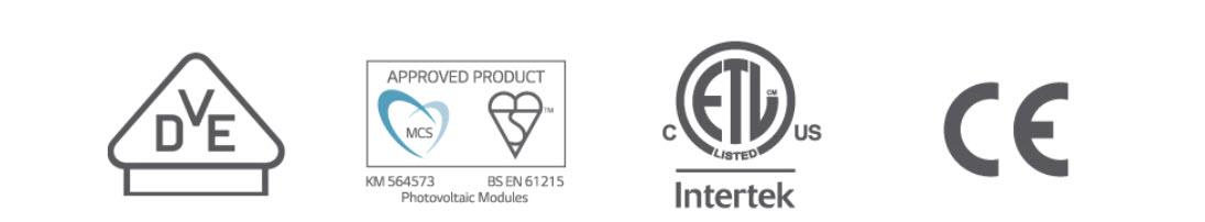Những chứng nhận đạt được của pin mặt trời LG Neon2